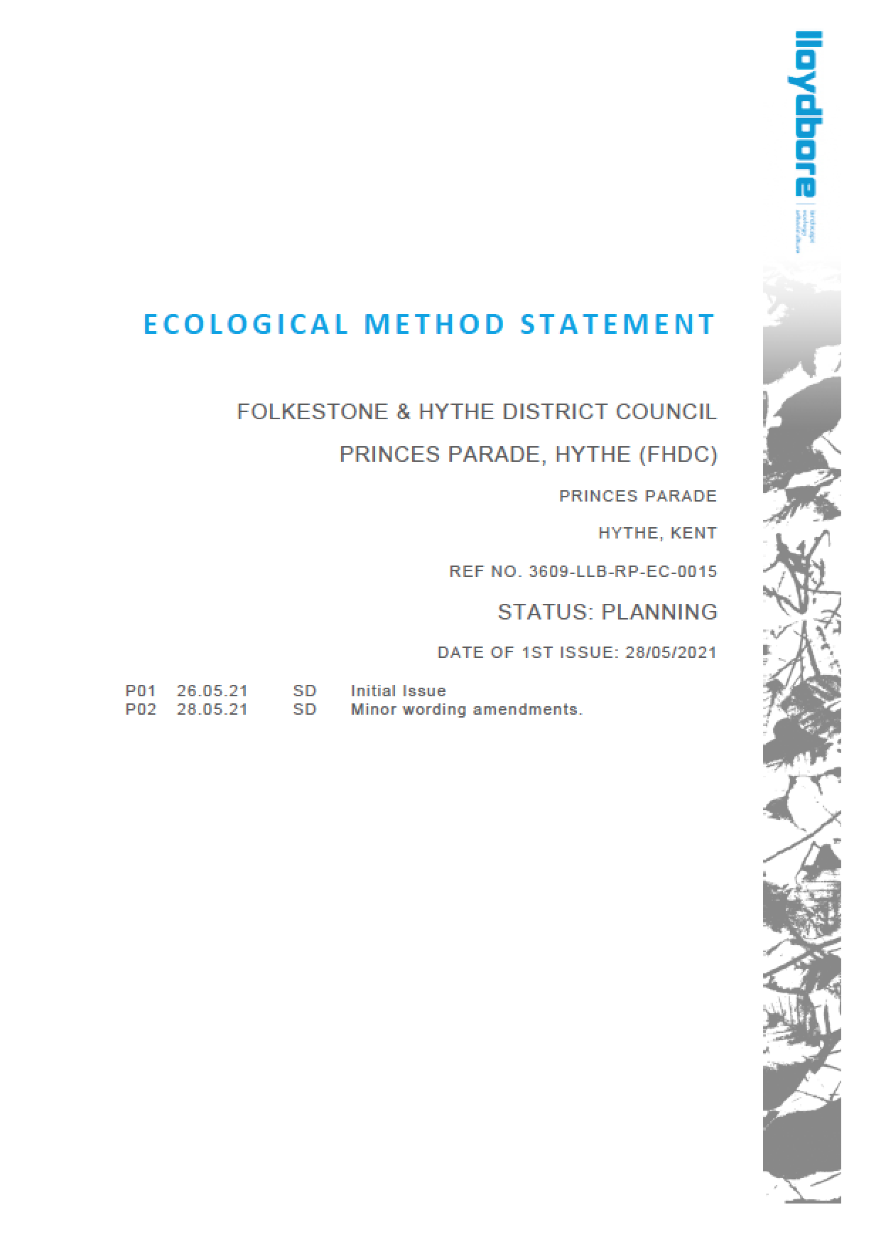Lloydbore Ecological Method Statement
